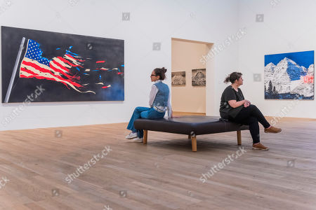 Stock Picture of Our Flag 2017 and Me, 1999 -  Artist Rooms: Ed Ruscha at Tate Modern. The latest in the series of annual free displays in the dedicated Artist Rooms gallery in Tate Modern's Blavatnik building. It opens to the public on 26 July 2019 and will run until Spring 2020.