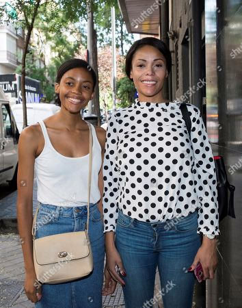 Erika do Rosario (L) and her mother Adilnelsa do Rosario (R) pose for the photographers upon their arrival at a court of first instance to appear before the court in the paternity suit filled against Cameroonese-born Spanish soccer player Samuel Eto'o, in Madrid, Spain, 24 July 2019. Erika do Rosario, 19, claims that she is daughter of the former player of Real Madrid and FC Barcelona.