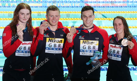 (from L) Great Britain's Freya Anderson, Adam Peaty, James Guy and Georgia Davies  pose with their bronze medals after the Mixed 4x100m medley relay final at the Gwangju 2019 FINA World Championships, Gwangju, South Korea, 24 July 2019.