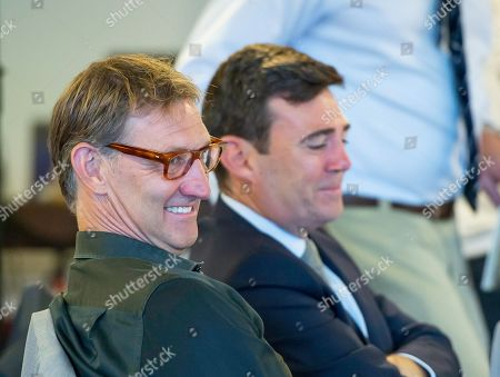 Stock Picture of Tony Adams with Andy Burnham.