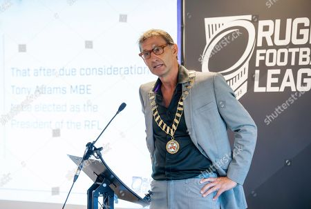 Tony Adams receives the Rugby Football League Presidential chains.