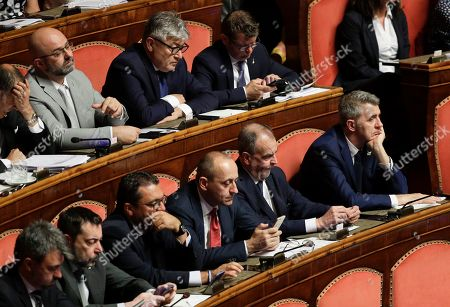 Roberto Calderoli and other League senators listen to Italian Premier Giuseppe Conte addressing the Senate on allegations that The League party sought Russian funding, in Rome
