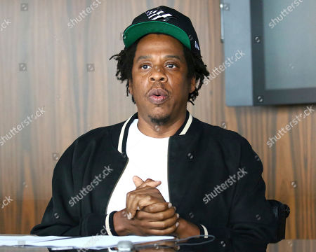 Stock Photo of Jay-Z makes an announcement of the launch of Dream Chasers record label in joint venture with Roc Nation, at the Roc Nation headquarters, in New York