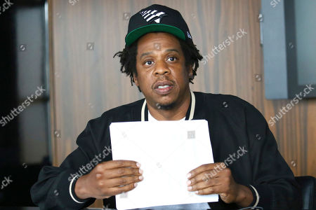 Jay-Z makes an announcement of the launch of Dream Chasers record label in joint venture with Roc Nation, at the Roc Nation headquarters, in New York