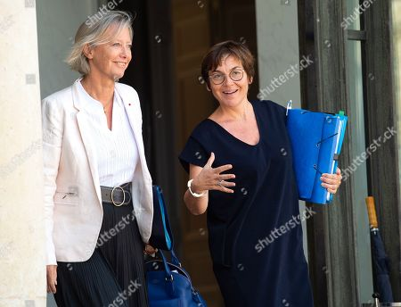 French Junior Minister for Disability Issues Sophie Cluzel and Overseas Minister Annick Girardin leaving the last weekly cabinet meeting before the government goes on holidays, at the Elysee Presidential palace.