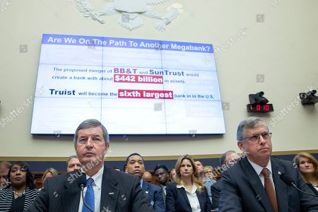 Kelly King (L), chairman and CEO of BB&T Corporation and William Rogers Jr (R), chairman and CEO of SunTrust Banks testify before the House Financial Services Committee on 'The Next Megabank? Examining the Proposed Merger of SunTrust and BB&T' in the Rayburn House Office Building in Washington, DC, USA, 24 July 2019. If the BB&T and SunTrust merger is approved, the new bank would be named Truist Bank.The deal would create the sixth-largest bank in the United States.
