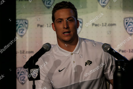 Stock Picture of Hollywood CA,..Colorado Buffaloes linebacker Nate Landman during the PAC-12 Media Day at the Ray Dolby Ballroom located within Hollywood & Highlands (Photo by Jevone Moore)