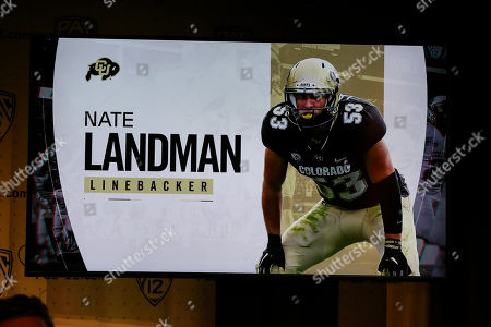 Hollywood CA,..Colorado Buffaloes linebacker Nate Landman during the PAC-12 Media Day at the Ray Dolby Ballroom located within Hollywood & Highlands (Photo by Jevone Moore)
