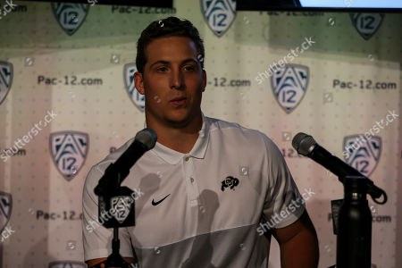 Stock Photo of Hollywood CA,..Colorado Buffaloes linebacker Nate Landman during the PAC-12 Media Day at the Ray Dolby Ballroom located within Hollywood & Highlands (Photo by Jevone Moore)