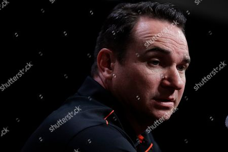 Oregon State head coach Jonathan Smith answers questions during the Pac-12 Conference NCAA college football Media Day, in Los Angeles