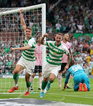Kristoffer Ajer & Leigh Griffiths of Celtic celebrate after Ajer headed the ball into the net ahead of team mate Leigh Griffiths to give Celtic a 1-0 lead.