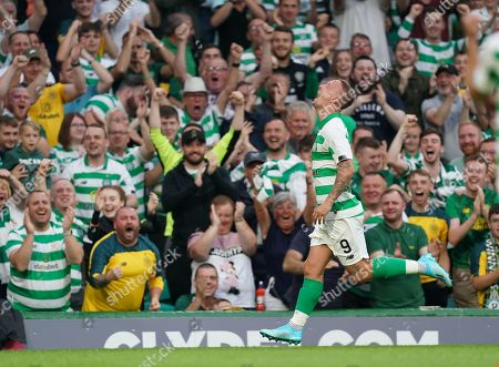 Leigh Griffiths of Celtic is emotional as he celebrate scoring to give Celtic a 3-0 lead after returning to the team following a period out with mental health issues.