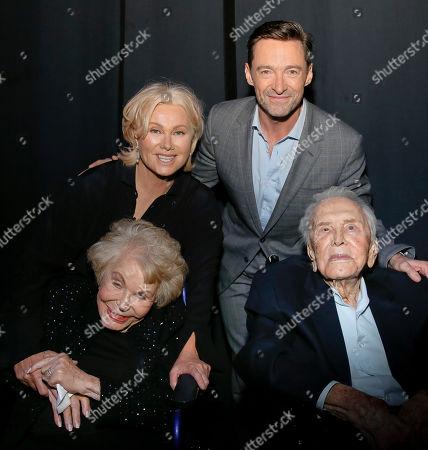 Anne Buydens, Deborra-Lee Furness, Kirk Douglas and Hugh Jackman