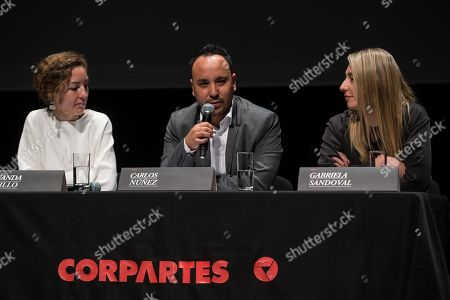 Corpartes' Foundation Programming, Education and Extension Director Fernanda Castillo (L), Sanfic's Artistic Director Carlos Nunez (C) and Sanfic Idustry Director Gabriela Sandoval (R) deliver a press conference to present the 15th edition of the Santiago International Cinema Festival (Sanfic), in Santiago, Chile, 24 July 2019.