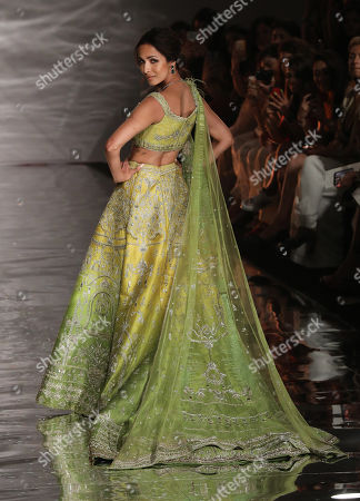 Stock Image of Indian actress Malaika Arora presents a creation by Indian designer Sulakshana Monga during the FDCI India Couture Week 2019 in Partnership with HT in New Delhi, 25 July 2019. FDCI India Couture Week 2019 is scheduled from 22 to 28 July.