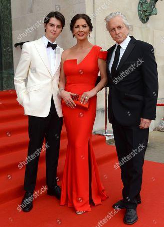 Stock Picture of Dylan Michael Douglas, Catherine Zeta-Jones and Michael Douglas