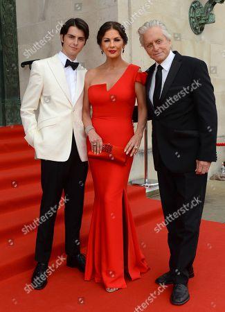 Stock Image of Dylan Michael Douglas, Catherine Zeta-Jones and Michael Douglas