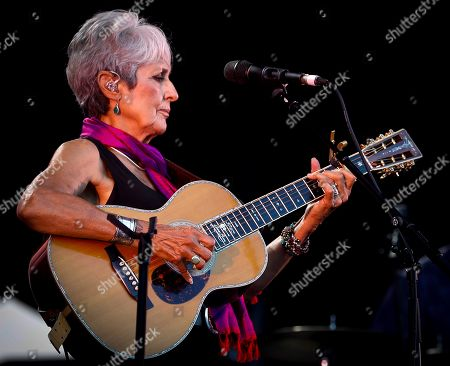 Joan Baez performs during her concert at the Jazzaldia Music Fest at La Zurriola beach in San Sebastian, Basque Country, northern Spain, 24 July 2019. The 54th Jazzaldia Jazz Festival runs from 24 to 28 July.