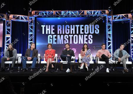 "Jody Hill, John Goodman, Cassidy Freeman, Danny McBride, Edi Patterson, Adam Devine, David Gordon Green. Director/executive producer Jody Hill, John Goodman, Cassidy Freeman, creator/executive producer/director/writer Danny McBride, Edi Patterson, Adam Devine and executive producer/director David Gordon Green participate in HBO's ""The Righteous Gemstones"" panel at the Television Critics Association Summer Press Tour, in Beverly Hills, Calif"