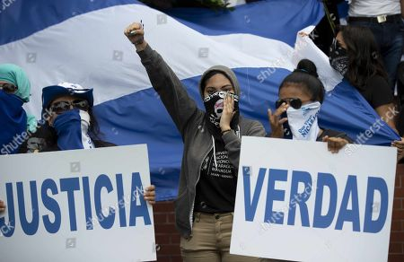 Protesters participate in a protest against the government of Daniel Ortega, at the Universidad Centroamericana (UCA) in Managua, Nicaragua, 24 July 2019. University students and released students commemorated the National Student Day in Nicaragua, with a protest against President Ortega, at the UCA, amid crisis in the country.