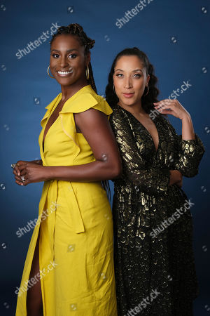 """Robin Thede, Issa Rae. Robin Thede, right, the creator, star and executive producer of the HBO comedy series """"A Black Lady Sketch Show,"""" and executive producer Issa Rae pose together for a portrait during the 2019 Television Critics Association Summer Press Tour at the Beverly Hilton, in Beverly Hills, Calif"""