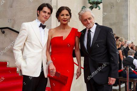 Stock Photo of Dylan Michael Douglas, Catherine Zeta-Jones and Michael Douglas