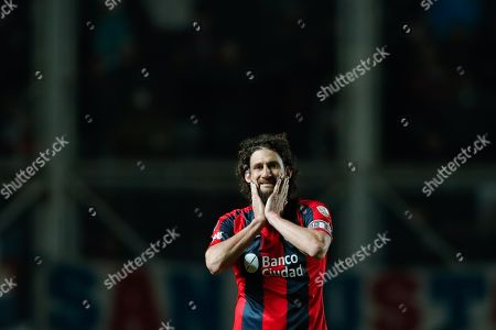 Stock Image of Fabricio Coloccini of San Lorenzo reacts during the Copa Libertadores match at the Pedro Bidegain stadium in Buenos Aires, Argentina, 24 July 2019.