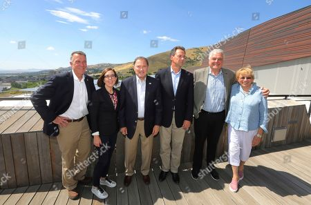 Stock Image of Phil Scott, Kate Brown, Gary Herbert, Steve Bullock, Steve Sisolak, Janet Mills. From left to right, Vermont Gov. Phil Scott, Oregon Gov. Kate Brown, Utah Gov. Gary Herbert, Montana Gov. Steve Bullock, Nevada Gov. Steve Sisolak and Maine Gov. Janet Mills pose for a photograph following a news conference launching an Outdoors Recreation Initiative, in Salt Lake City. Governors from about 25 states are gathering in Utah this week for the summer conference of the National Governors Association. The state leaders are expected to discuss infrastructure, cybersecurity and health care at the three-day conference in Salt Lake City that runs Wednesday through Friday