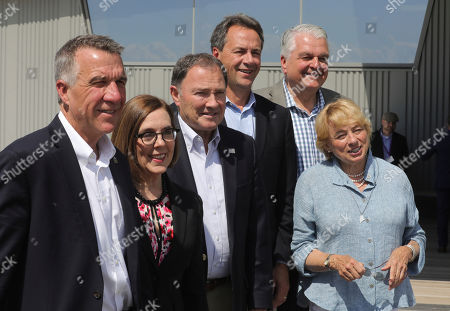 Phil Scott, Kate Brown, Gary Herbert, Steve Bullock, Steve Sisolak, Janet Mills. From left to right, Vermont Gov. Phil Scott, Oregon Gov. Kate Brown, Utah Gov. Gary Herbert, Montana Gov. Steve Bullock, Nevada Gov. Steve Sisolak and Maine Gov. Janet Mills pose for a photograph following a news conference launching an Outdoors Recreation Initiative, in Salt Lake City. Governors from about 25 states are gathering in Utah this week for the summer conference of the National Governors Association. The state leaders are expected to discuss infrastructure, cybersecurity and health care at the three-day conference in Salt Lake City that runs Wednesday through Friday