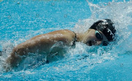 United States' Katie Ledecky swims her leg of the women's 4x200m freestyle relay at the World Swimming Championships in Gwangju, South Korea