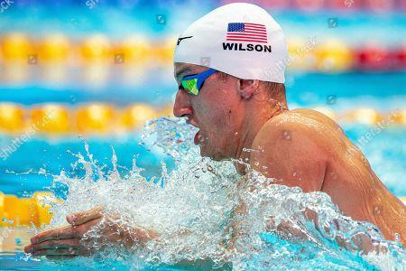 Andrew Wilson of the USA competes in the men's 200m Breaststroke heats during the Gwangju 2019 FINA World Championships in Gwangju, South Korea, 25 July 2019.