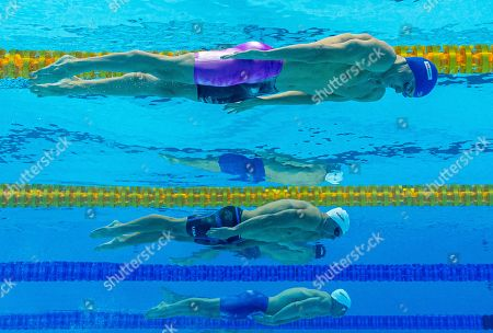 (From top) Anton Chupkov of Russia, Josh Prenot of the United States of America (USA) and Andrew Wilson of the United States of America (USA) compete in the men's 200m Breaststroke Heats during the Swimming events at the Gwangju 2019 FINA World Championships, Gwangju, South Korea, 25 July 2019.