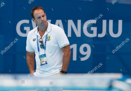 Stock Photo of Head coach of South Africa Paul Martin reacts during the men's water polo match between Japan and South Africa at the FINA Swimming World Championships 2019 in Gwangju, South Korea, 25 July 2019.