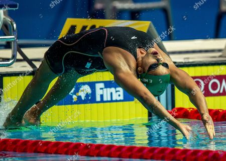 Etiene Medeiros of Brazil on her way finishing second in the women's 50m Backstroke Final during the Swimming events at the Gwangju 2019 FINA World Championships, Gwangju, South Korea, 25 July 2019.