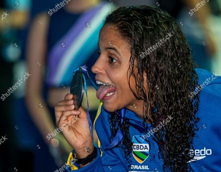 Etiene Medeiros of Brazil poses with her Silver medal after finishing second in the women's 50m Backstroke Final during the Swimming events at the Gwangju 2019 FINA World Championships, Gwangju, South Korea, 25 July 2019.