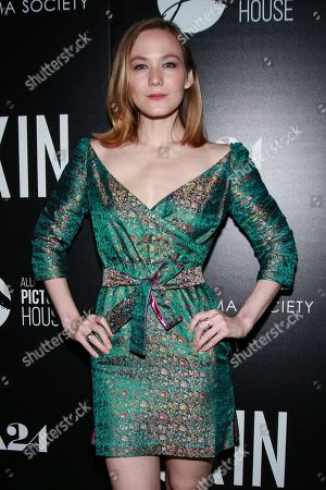 "Louisa Krause attends a special screening of ""Skin,"" hosted by A24 and Allusionist Picture House with The Cinema Society, at The Roxy Cinema, in New York"