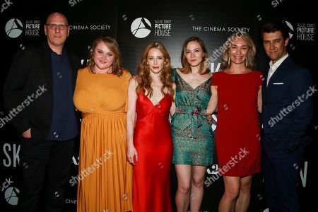 "Oren Moverman, Danielle Macdonald, Jaime Newman, Louisa Krause, Celine Rattray, Guy Nattiv. Oren Moverman, from left, Danielle Macdonald, Jaime Newman, Louisa Krause, Celine Rattray and Guy Nattiv attend a special screening of ""Skin,"" hosted by A24 and Allusionist Picture House with The Cinema Society, at The Roxy Cinema, in New York"