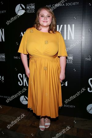 "Danielle Macdonald attends a special screening of ""Skin,"" hosted by A24 and Allusionist Picture House with The Cinema Society, at The Roxy Cinema, in New York"