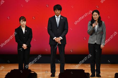 Stock Picture of Hiromi Miyake, Takuya Haneda and Homare Sawa