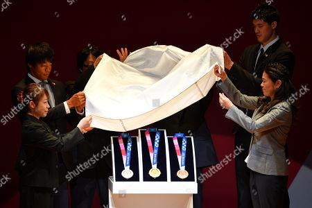 Stock Image of Hiromi Miyake, Takuya Haneda, Junichi Kawanishi, Olympic medals, Ryohei Miyata, Yuta Watanabe and Homare Sawa