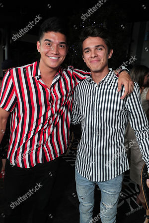 "Stock Picture of Alex Wassabi and Brent Rivera attend AwesomenessTV's celebration for the second season premiere of their Hulu series, ""Light as a Feather"" at Hyde Sunset on Wednesday, July 24th"