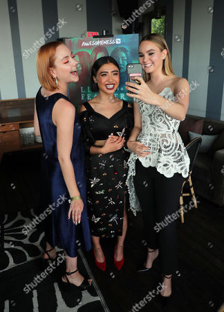 """Haley Ramm, Brianne Tju and Liana Liberato attend AwesomenessTV's celebration for the second season premiere of their Hulu series, """"Light as a Feather"""" at Hyde Sunset on Wednesday, July 24th"""