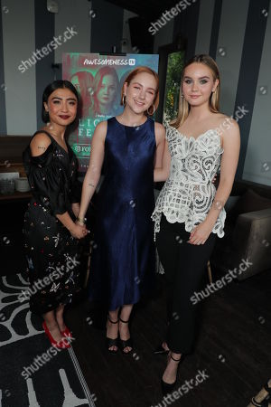 """Brianne Tju, Haley Ramm and Liana Liberato attend AwesomenessTV's celebration for the second season premiere of their Hulu series, """"Light as a Feather"""" at Hyde Sunset on Wednesday, July 24th"""