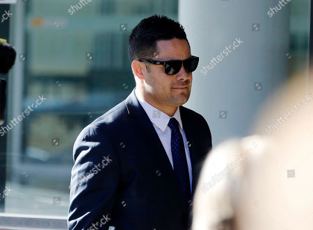 Stock Image of Former Austrlian National Rugby Leage (NRL) player Jarryd Hayne arrives at Newcastle Court in Newcastle, New South Wales, Australia, 25 July 2019. Jarryd Hayne is facing aggravated sexual assault charges.