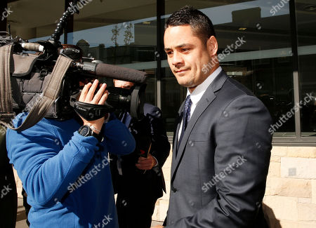 Former Austrlian National Rugby Leage (NRL) player Jarryd Hayne (R) leaves the Newcastle Court in Newcastle, New South Wales, Australia, 25 July 2019. Jarryd Hayne is facing aggravated sexual assault charges.