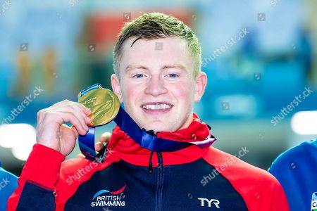 Adam Peaty of Great Britain during the Victory ceremony of Men's 50m Breaststroke finals