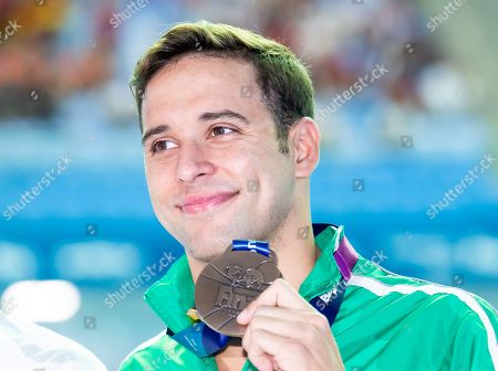 Chad le Clos of South Africa during the Victory Ceremony for Men's 200m butterfly