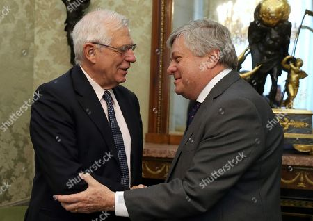 Stock Photo of Acting Spanish Foreign Affairs Minister, Josep Borrell (L), meets with People's Party European MP Leopoldo Lopez at Santa Cruz Palace, in Madrid, Spain, 25 July 2019. Lopez is the father of Venezuelan opposition leader Leopoldo Lopez.