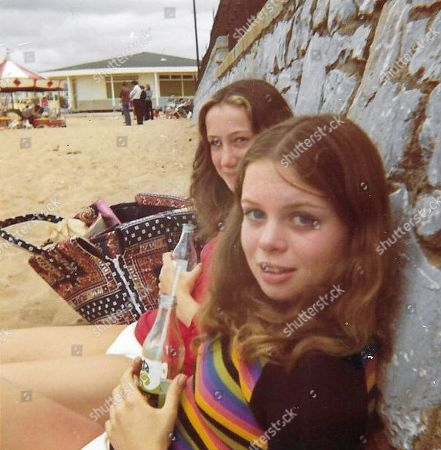 Stock Image of Lindy Carr with Julie Dawn Cole, who played Veruca Salt, on a beach aged about 12
