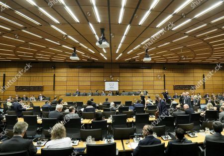 General view of the board of governors meeting for a tribute to the late Director General of the International Atomic Energy Agency, IAEA, Yukiya Amano of Japan at the International Center in Vienna, Austria, . The IAEA announced the death of the agency's Director General Yukiya Amano at the age of 72 years
